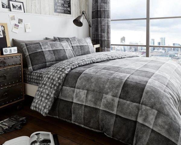Single Denim Check grey duvet cover