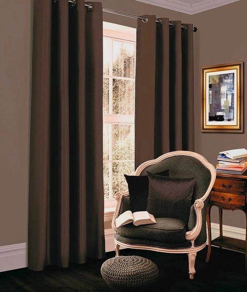 66x72 Thermal blackout chocolate eyelet curtains