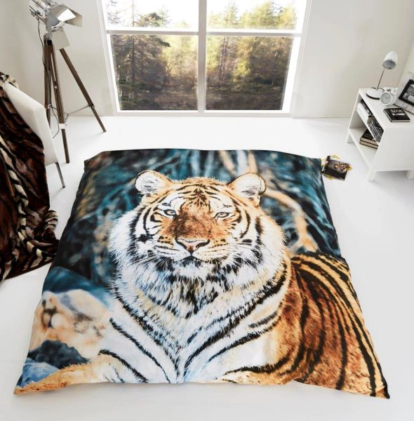 3D print Tiger faux mink fur throw / blanket
