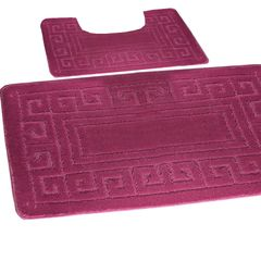 Dark Pink Greek style 2 piece bath mat set