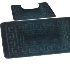 Dark Teal Greek style 2 piece bath mat set