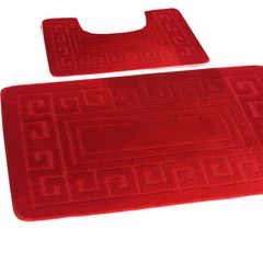 Red Greek style 2 piece bath mat set