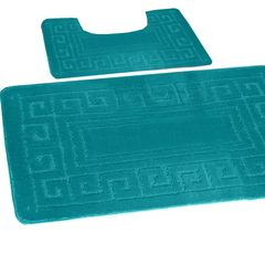 Teal Greek style 2 piece bath mat set