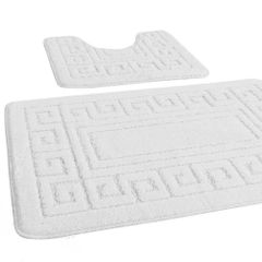 White Greek style 2 piece bath mat set