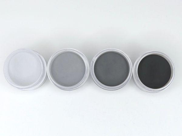 SHADES BY CHARISMA NAIL, 4PK 1/2oz GRAY AND BLACK SHADES, Hand Blended 3D Color Acrylic Powders