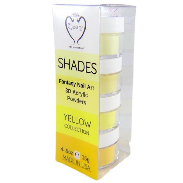 SHADES BY CHARISMA NAIL, 4PK 1/2oz YELLOW SHADES, Hand Blended 3D Color Acrylic Powders