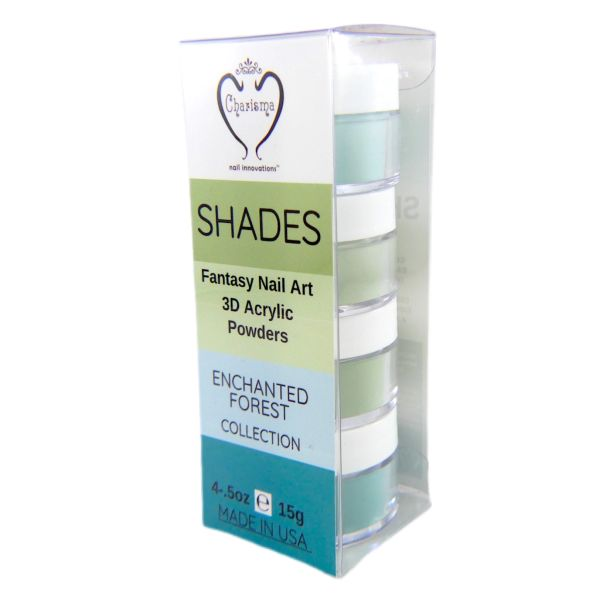 SHADES BY CHARISMA NAIL, 4PK 1/2oz ENCHANTED FOREST SHADES, Hand Blended 3D Color Acrylic Powders