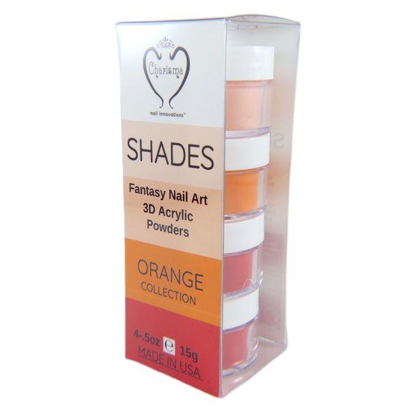 SHADES BY CHARISMA NAIL, 4PK 1/2oz ORANGE SHADES, Hand Blended 3D Color Acrylic Powders