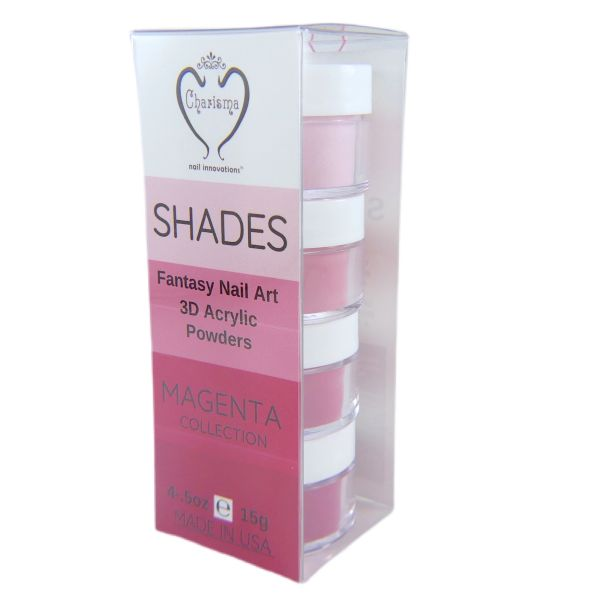 SHADES BY CHARISMA NAIL, 4PK 1/2oz MAGENTA SHADES, Hand Blended 3D Color Acrylic Powders