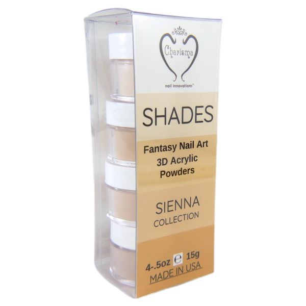 SHADES BY CHARISMA NAIL, 4PK 1/2oz SIENNA SHADES, Hand Blended 3D Color Acrylic Powders