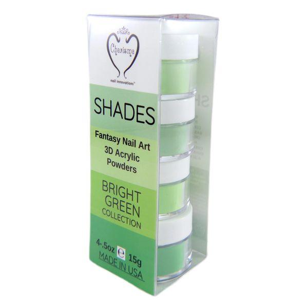 SHADES BY CHARISMA NAIL, 4PK 1/2oz VIBRANT GREEN SHADES, Hand Blended 3D Color Acrylic Powders