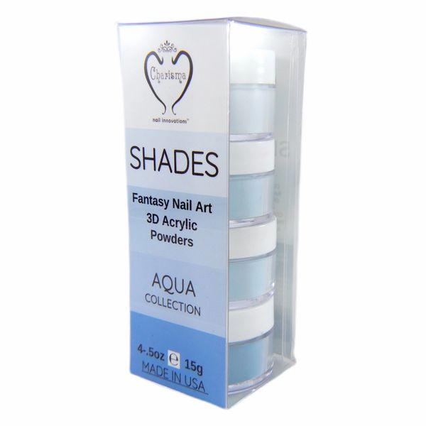 SHADES BY CHARISMA NAIL, 4PK 1/2oz AQUA SHADES, Hand Blended 3D Color Acrylic Powders