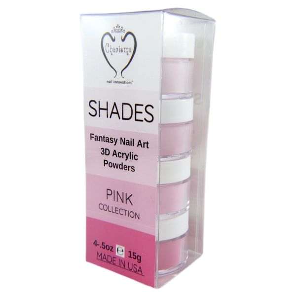 SHADES BY CHARISMA NAIL, 4PK 1/2oz PINK SHADES, Hand Blended 3D Color Acrylic Powders
