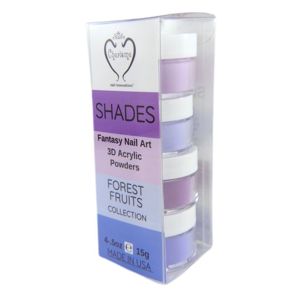 SHADES BY CHARISMA NAIL, 4PK 1/2oz FOREST FRUIT SHADES, Hand Blended 3D Color Acrylic Powders