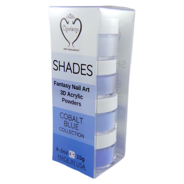 SHADES BY CHARISMA NAIL, 4PK 1/2oz Cobalt Blue SHADES, Hand Blended 3D Color Acrylic Powders