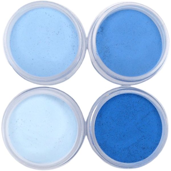 SHADES BY CHARISMA NAIL, 4PK 1/2oz PRUSSIAN BLUE SHADES, Hand Blended 3D Color Acrylic Powders