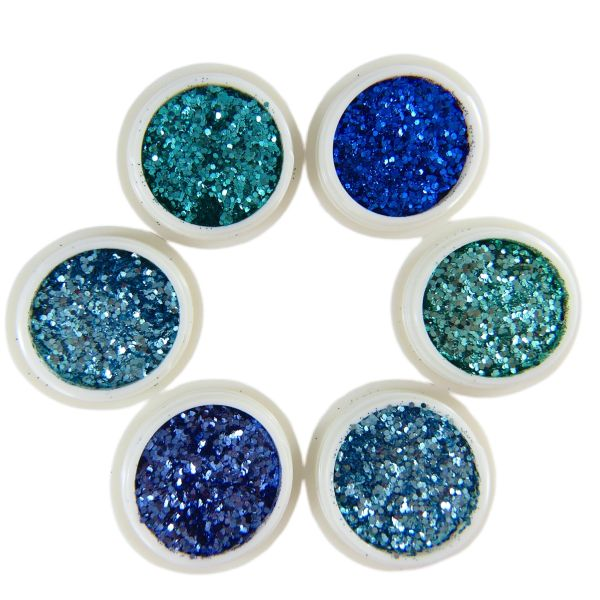 Metallic Ultra-Fine Multi Size Hexagon Nail Art Glitter Blue and Turquoise Collection
