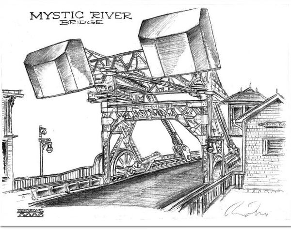 "Mystic River Bridge Connecticut rear view 17""x 24"""
