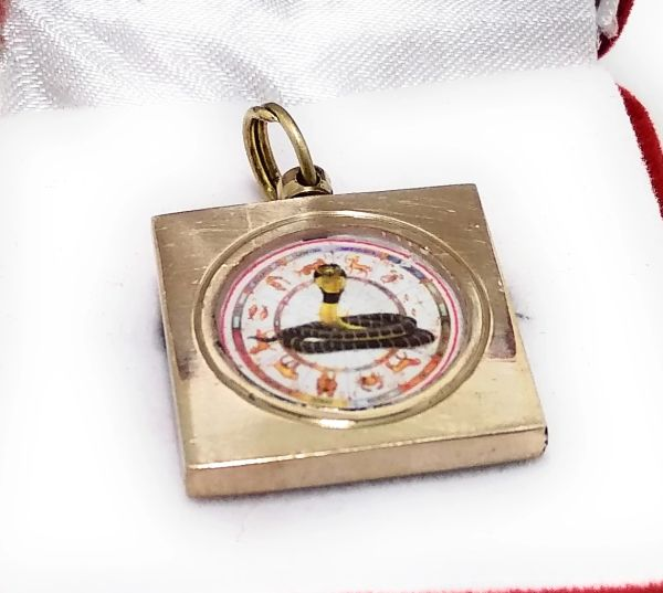 Ashtadhatu Gold Plated Square Kal Sarp Dosh Nivaran Yantra Locket With Mantra To Remove Kal Sarp Yog In Kundli