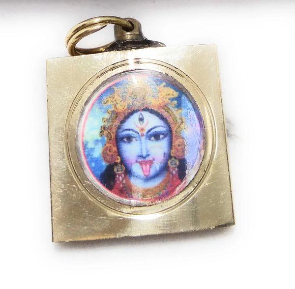 Ashtadhatu Gold Plated Square Kali Mata Vashikaran Yantra Locket With Mantra