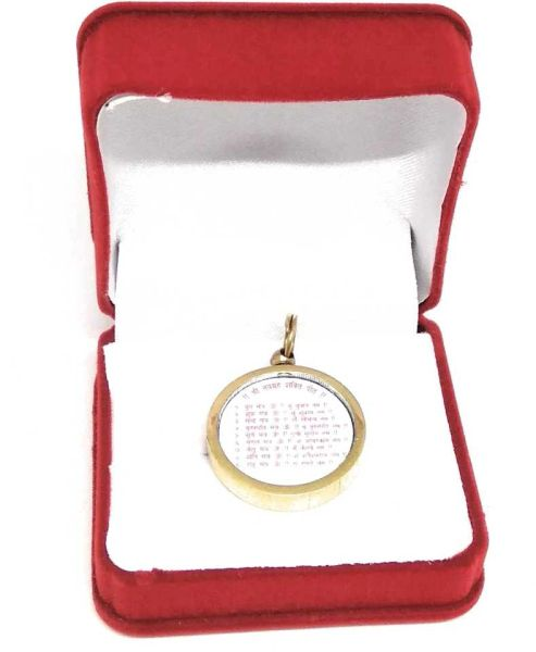 Shri Navgarh Yantra Locket With Gold Plated Include Mantra Gold-plated Metal Locket