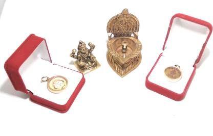 astrosale Lakshmi Prapti Yantra Set include ( Lakshmi Diya Kuber Locket and Ashtadhatu Lakshmi ) To increase Your Wealth and Prosperity Brass Yantra (Pack of 4)