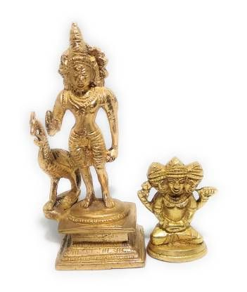 astrosale Ashtadhatu Kartikey &Murugan Decorative Showpiece - 11 cm & 5 cm (Brass, Gold)