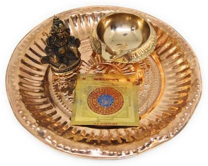 astrosale Puja Thaali with Kuber Murti, Kuber Diya, Kuber Yantra Copper, Brass (Gold, Brown)
