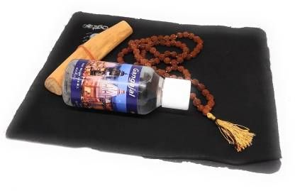 astrosale Holy Gangajal Pure and Natural Water with Rudraksha Mala and Chandan Stick ( Pack of 3 ) Wooden Yantra (Pack of 3)