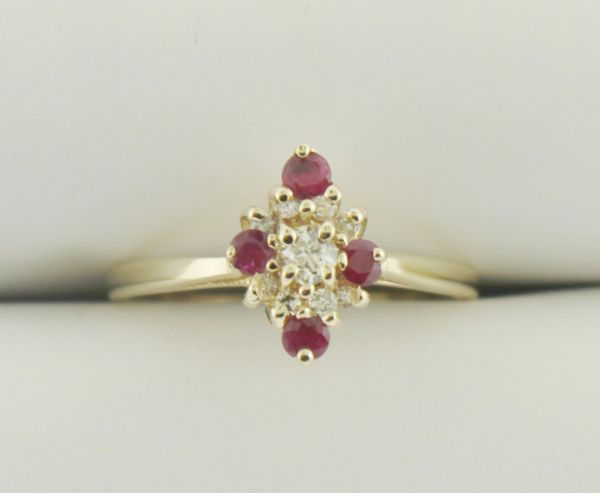 14k Yellow Gold Diamond & Ruby Cluster Rings