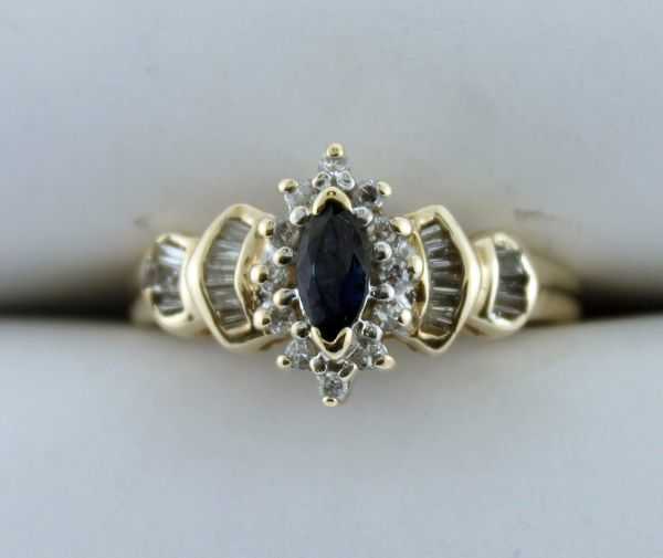 10k Yellow Gold Ladies Marquise-Cut Sapphire and Diamond Ring