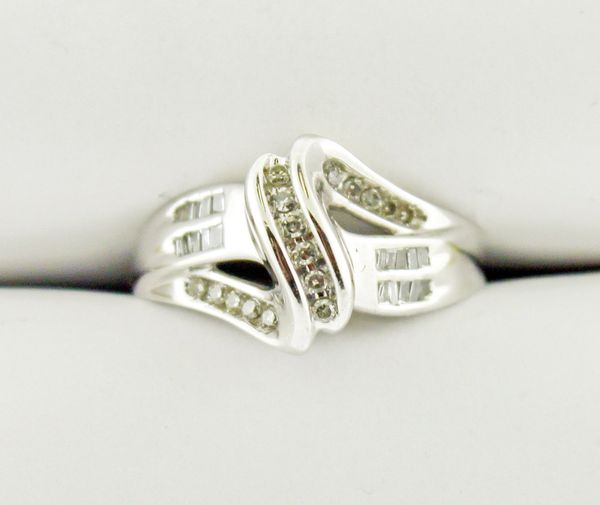 10k White Gold Moissanite Diagonal Bypass-Style Ring
