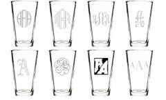 Four Custom Engraved Beer/Pint Glasses