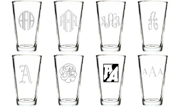 Four Custom Engraved Beer/Pint Glasses