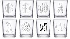 Four Custom Engraved Circular Whiskey Glasses