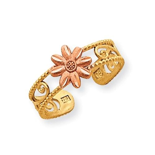 Two Tone Flower Toe Ring (JC-1118)