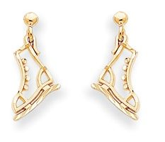 Polished Diamond Cut Ice Skate Dangle Post Earrings (JC-878)