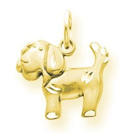 Satin & Diamond Cut Puppy Dog Charm (JC-906)