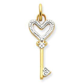Two Tone Heart Key Charm (JC-911)
