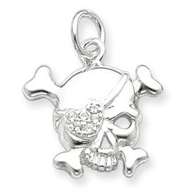 Pirate Skull and Crossbones with Heart Eye Patch Charm (JC-672)