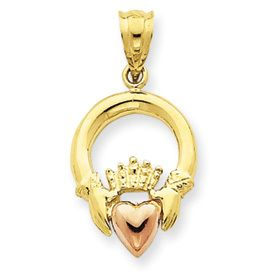 Two-tone Rose Heart Claddagh Pendant (JC-859)