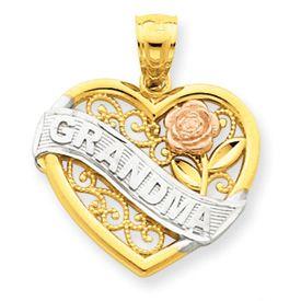 Three Tone Grandma Heart Charm (JC-105)