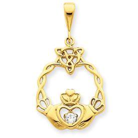 Claddagh Diamond .10 Carat Pendant (JC-035)