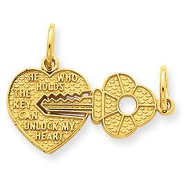 Small Heart & Key Break Apart Charm (JC-769)