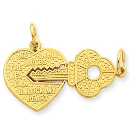 Large Heart & Key Break Apart Charm (JC-776)