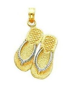 Two Tone Double Flip Flop Sandals Charm (JC-875)