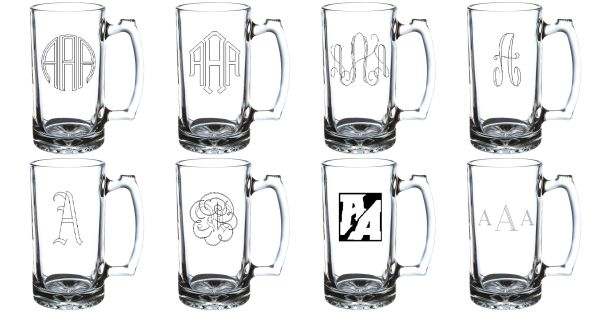 Four Custom Engraved Stein Glasses