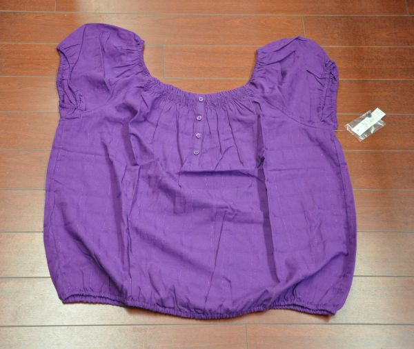Womens Faded Glory Short Sleeve Peasant Top Blouse Purple Size XXL(20)