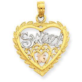 Three Tone Sweet 16 Heart Pendant (JC-1041)