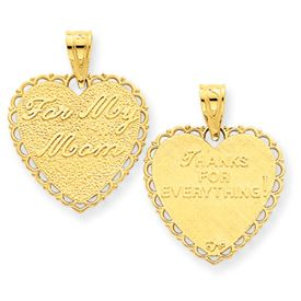 """Reversible """"For My Mom"""" Heart Charm (JC-100)"""